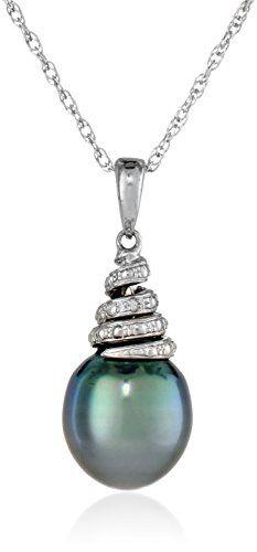 David yurman tahitian pearl diamond drop pendant nothing sterling silver 9 95mm tahitian cultured black pearl and diamond pendant necklace amazon curated aloadofball Gallery