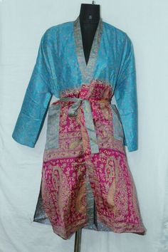 Patchwork Maxi Jacket Dress Indian Woman's Silk Sari Kimono Bathrobe Sk-1041 #Handmade #Kimono #AnyOccasionCasual