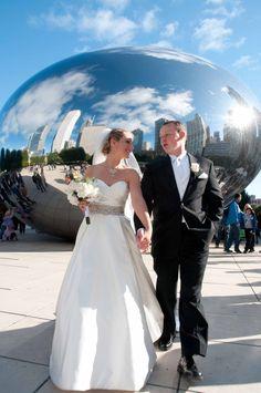 Bride & Groom @ Millenium Park Chicago  (the bean)