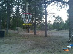 home disc course-  hang some baskets from trees instead of anchoring to ground.