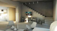 bram   openspace - soggiorno con vista su cavi in acciaio della scala