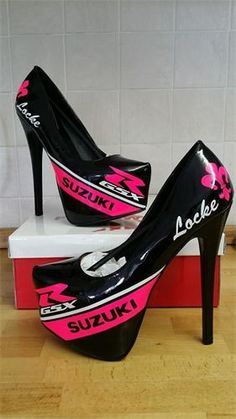 fec19d100016 All Vinyl Race Liveries - High heel Paddock Girl Shoes Women s Motorcycle  Boots