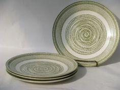 Psychedelic spirals, retro mod El Verde pottery dinner plates