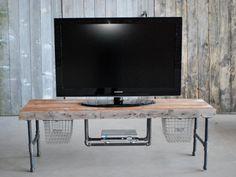 Industrial Reclaimed wood media/tv stand 150 by UrbanWoodGoods, $525.00