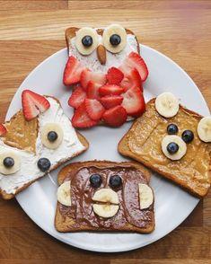 Animal toast four ways kids meals, kid foods, kids fun foods, heathly snacks Cute Food, Good Food, Yummy Food, Cute Snacks, Kid Snacks, School Snacks, Party Snacks, Toddler Meals, Kids Meals