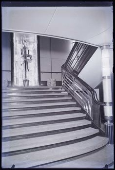 First class Staircase aboard the liner Bremen (c1929).