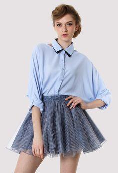 Blue Cut Out Double Collar Shirt