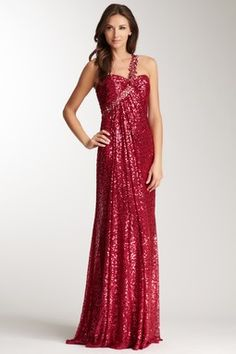 Embellished One Shoulder Sequin Gown