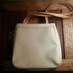 "Nine West shoulder bag Cream colored bag with tan ""N"" all overn tan straps Nine West Bags Shoulder Bags"