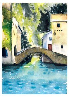 Italian Landscape Watercolor Lake Como Painting Art Vertical Print, Italy Painting lake watercolor scene, lake house art, bridge painting by ArtOlgaShef on Etsy