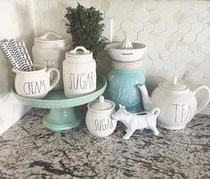 """Shannon   Fox Hollow Cottage on Instagram: """"Sharing Kate from @peachesandpaisleys for #foxhollowfridayfavs  isn't her little kitchen corner full of #raedunn goodies the cutest!? And don't forget to peek at that backsplash tile! Swoon  A new friend to #follow #ff #onetofollow """""""