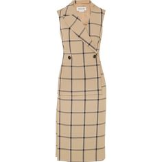 Monse Louise asymmetric cutout checked twill dress (27,065 MXN) ❤ liked on Polyvore featuring dresses, beige, thigh high slit dress, cut out dresses, tailored dresses, slit dresses and beige dress