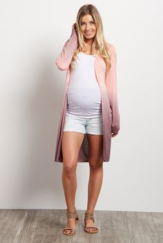 Once you put this maternity cardigan on, you won't want to take it off due to its super soft material. A gorgeous ombre hue is perfect to throw over a basic outfit, and its lightweight feel makes it great for summer nights. Style this cardigan with a cami and maternity jeans for a complete look.