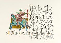 Visigothic-Mounted-Rider-Page Risa Gettler Calligraphy Letters, Arabic Calligraphy, Typography, Lettering, Letter Art, Visigothic, Pencil, Miniatures, Fancy