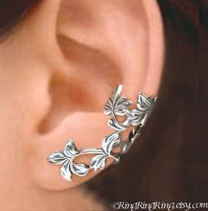 God, these are just beautiful! This shop has stunning ear cuffs! Spring Leaf branch - Sterling Silver ear cuff earrings, Sterling silver jewelry by RingRingRing on Etsy Ear Jewelry, Jewelry Accessories, Jewelry Design, Jewlery, Silver Jewellery, Flower Jewelry, Silver Bracelets, Yoga Jewelry, Flower Earrings