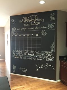 -Chalkboard calendar wall – with space for the future kids to doodle. A family ho… Chalkboard calendar wall – with space for the future kids to doodle. A family home centrepiece. Chalkboard Wall Calendars, Chalkboard Wall Kitchen, Blackboard Wall, Chalk Wall, Diy Calendar, Diy Chalkboard, Family Calendar Wall, Chalkboard Command Center, Chalkboard Wall Bedroom