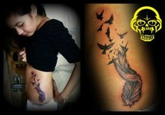 4th of Feb, 4th tattoo. Feather meaning creativity, rebirth.Bird tattoo meaning freedom.