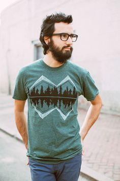 Crater Lake - tshirt for men, mens graphic tee, mountain print on forest green, camping shirt, gift for him, american apparel S-XL