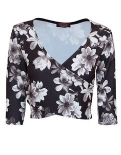 Black Grey Floral Print Wrap Over Bust Top  £ 7.95
