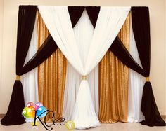 Classic Elegant Drap Classic Elegant Draping ideas for your wedding birthday sweet 16 or shower. Diy Backdrop, Backdrop Decorations, Wedding Decorations, Wedding Centerpieces, Wedding Stage, Red Wedding, Wedding Ideas, Table Wedding, Wedding Veils