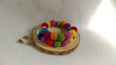 Needlefelt Rainbow Bead Memory Wire Bracelet
