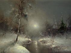 Igor Medvedev - this artist has a lot of unique snow paintings with different lighting