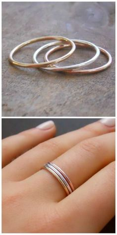A 3 rings set - Rose gold filled, Yellow gold filled, Sterling silver