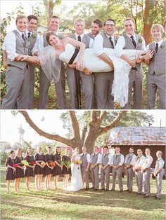 gray and black wedding party....I like the different color bouquets