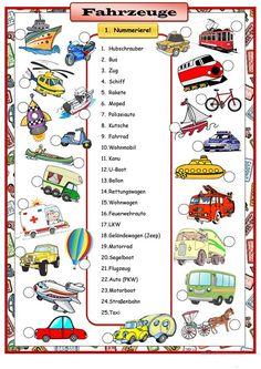 Fahrzeuge - Deutsch Daf Arbeitsblatter German Grammar, German Words, Teaching French, Teaching Spanish, Spanish Activities, French Lessons, Spanish Lessons, Learn German, Learn French