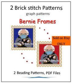 Brick Stitch Patterns, Peyote Stitch Patterns, Beading Patterns, Magnet, Stitch 2, Colour List, Bernie Sanders, Sell On Etsy, Beads