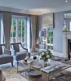 Classic contemporary living room by Sophie Paterson Interiors in soft grey neutrals Elegant Living Room, Formal Living Rooms, Home Living Room, Living Room Designs, Living Room Decor, Living Spaces, Modern Living, Living Room Inspiration, Luxury Living