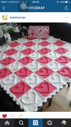 Best 12 Looking for your next project? You're going to love Heart Motifs Baby Blanket by designer Peach. Crochet Square Blanket, Crochet Square Patterns, Baby Afghan Crochet, Crochet Squares, Crochet Granny, Crochet Blanket Patterns, Motifs Granny Square, Bobble Stitch Crochet, Crochet Bedspread Pattern