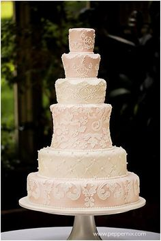 Note the lovely form - Multi-Tiered Pastel Lace Wedding Cake Elegant Wedding Cakes, Elegant Cakes, Beautiful Wedding Cakes, Gorgeous Cakes, Wedding Cake Designs, Unique Weddings, Lace Wedding, Indian Weddings, Beautiful Cake Pictures