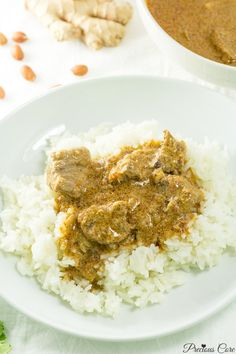 Cameroonian groundnut soup and rice