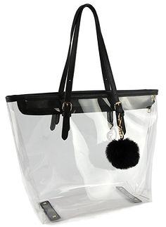 178097cfac14 Large Clear Bag PVC Transparent Shoulder Handbag with Black Plush Pendant ( Black) Shoulder Handbags