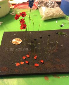 Poppies from Botiny Miniatures: She uses coffee filters to make flowers!