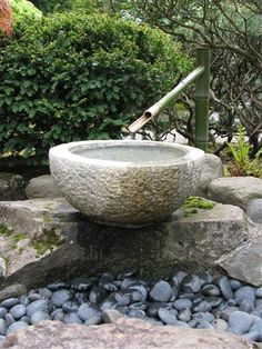 Stone Basin Water Feature In Japanese Garden In Portland. Photo By Taryn  Koerker