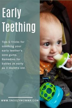 Tips for helping your early teether. Early teething // early teething signs // early teething remedies // early teething baby // early teething baby tips Teething Baby 3 Months, Teething Baby Relief, Baby Teething Chart, Baby Teething Symptoms, Baby Teething Remedies, Natural Teething Remedies, Bebe, Women Health
