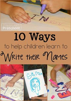 10 ways to help children learn to write their names from Play to Learn Preschool by alyce Preschool Names, Preschool Writing, Preschool Classroom, Preschool Learning, Literacy Activities, Activities For Kids, Children Writing, Learning To Write, Kids Learning