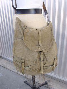 Vintage Military Bag w/ Vintage Spanish Adjustable Leather Strap. $ 55.00, via Etsy.