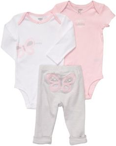 Carters Baby Girl's 3 Piece Pink Bodysuit Set « Clothing Impulse