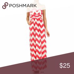 Coral Chevron Stripe Strapless Empire Maxi Dress S Chevron Zig Zag Stripe Strapless Maxi Dress Small  Super sexy and trendy, this pocket maxi long dress is the perfect dress.  This material is a soft flowing polyester/spandex stretch.  Featuring a side pockets, & strapless top with Empire waist.  Made of Poly/Spandex Fashonomics Dresses Maxi