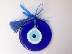 Evil Eye Charm, Good luck charm, Evil Eye, Talisman, Greek Turkish blue, evil eye ornament,  Lucky eye, ward off bad luck, good luck charm by hippiefishbeachart on Etsy