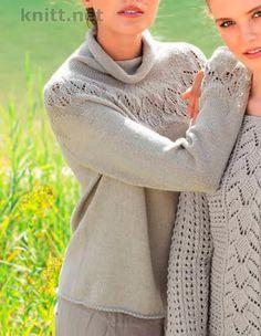 Вязаный спицами пуловер с круглой кокеткой. Самое прекрасное - в конце, и это круглая кокетка из чудесных ажурных узоров.
