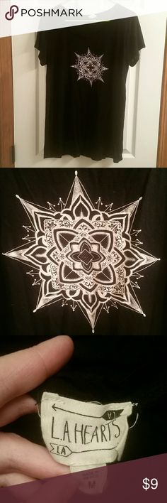 Mandala flowy t-shirt Very comfy shirt with cool mandala design has very small hole shown in picture 4, so small I didn't even notice until I took the pictures, sides have high slits LA Hearts Tops