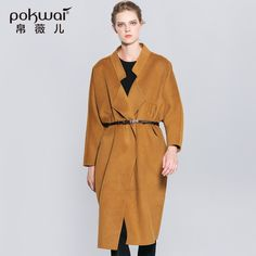 >> Click to Buy << POKWAI Long Winter Double Face Wool Coat Women 2017 Loose Open Stitch Handmade Ladies Overcoats Full Sleeve Solid Female Parkas #Affiliate
