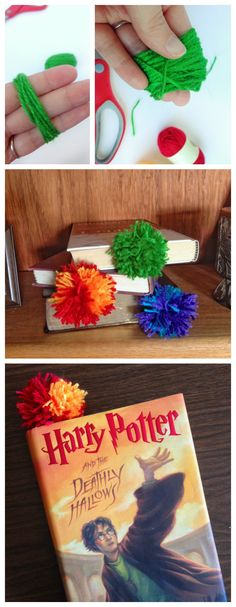 Make Quick and Easy Bookmarks from Yarn - How to Make Pom-Pom Bookmarks - An Easy Craft for All Ages - Destination Decoration