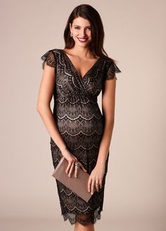 3d50868eb25d9 Queen Bee Imogen Black Lace Maternity Evening Dress by Tiffany Rose  Pregnant Party Dress, Les