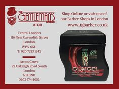 GumGel is an alcohol-free maximum hold fixing gel for creating extreme hairstyles and structured shapes. GumGel £11.95 (750ml) available at both of our #London barber shops & online store! http://wu.to/h6ibXb #BarberShop #Hair