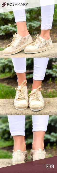 Sequin Espadrille Sneakers Stunning sequin espadrille sneakers in a beautiful gold and tan tone. Has a good grip on the bottom and are true to size. Very comfortable and trendy Shoes Espadrilles